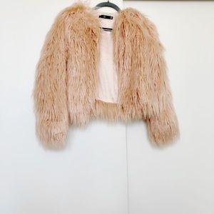 Missguided shaggy faux fur coat